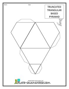 free 3d paper models truncated triangular based pyramid tabs