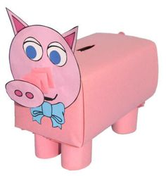 Piggy Bank Craft - as an animal in the Michael Mouse play Pig Crafts, Farm Crafts, Preschool Activities, Crafts For Kids, Animal Crafts, Paper Crafts, Homemade Valentines, Valentine Box, Valentine Ideas
