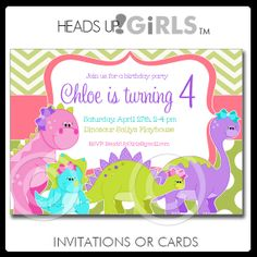59 best rachels dinosaur 3rd birthday party inspiration images on personalized dinosaurs birthday invitations for girls in pink purple lime green and aqua blue by headsupgirls filmwisefo