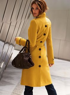 2013 New Womens Long Coat Wool Cahmere Blend Trench Coat Outwear Long Jacket 01 Look Fashion, Winter Fashion, Fashion Women, Spring Fashion, Fashion Ideas, Mode Mantel, Yellow Coat, Yellow Black, Cooler Look