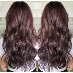 Beautiful brunette with subtle hints of mauve hair color by Tara of Butterfly Loft Salon. hotonbeauty.com