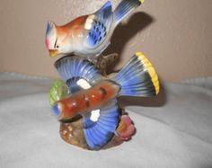 Trimont Ware Japan- Ceramic Blue Jays Figurine Collectible Decor