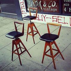 3-Vintage-TH-Brown-T-H-Barstool-Bar-stool-Parker-Thb-retro-easden-swivel-danish