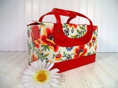 Retro Groovy Floral Red Patent Leather Train Case  by DivineOrders, $43.00