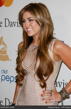 Miley Cyrus long hair and makeup