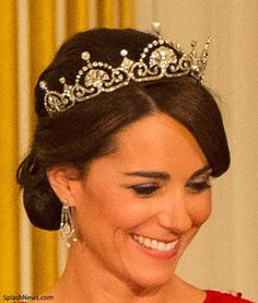 Queen Elizabeth of the United Kingdom's Lotus Flower Tiara made by Garrard in 1923 and later worn by Princess Margaret and the Duchess of Cambridge Royal Crowns, Royal Tiaras, Royal Jewels, Tiaras And Crowns, Crown Jewels, Princesse Kate Middleton, Eugenie Of York, Flower Tiara, The Duchess