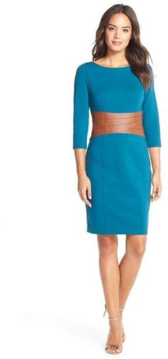 Nordstrom Faux Leather & Ponte Sheath Dress - Find it on Donde Fashion