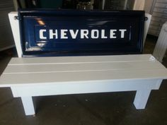 This would be so easy to make yourself!! Retro Chevy Stepside Tailgate Bench by TomsTempShopName on Etsy, $850.00