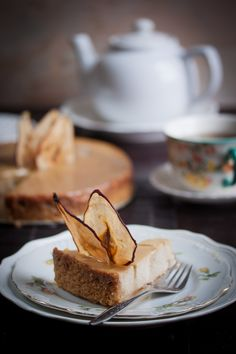 Pear and Ginger Ricotta Cheesecake with Salted Caramel Drizzle via Manifest Vegan