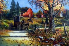A Horse and buggy make the slow journey down the OLD COUNTRY ROAD. They are arriving at an old farm house with the barn beautifully lit up in the red paint on a sunny fall day. This print is available                                                                                                                                                      More