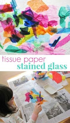 Easy and beautiful tissue paper stained glass craft for kids -- on wax paper. Craft Projects For Kids, Craft Activities For Kids, Preschool Crafts, Fun Crafts, Art Projects, Wax Paper Crafts, Cathedral Windows, Contact Paper, Process Art
