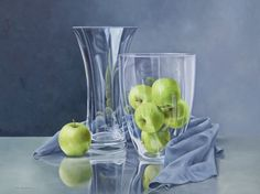 Hedendaags glas en appels olieverf op linnen 60 x 80 cm