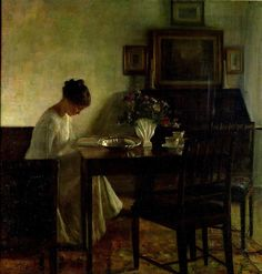 """Girl Reading in an Interior"" / Carl Holsoe (1863-1935)"