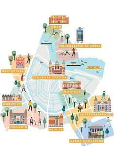 AMSTERDAM Neighbourhoods guide maps by Saskia Rasink. I like the detail within the houses/buildings and them still being able to appear more graphic than illustrative. Utrecht, Rotterdam, Travel Maps, Travel Posters, Plan Ville, Amsterdam Map, Amsterdam Netherlands, Red Light District, Travel Illustration
