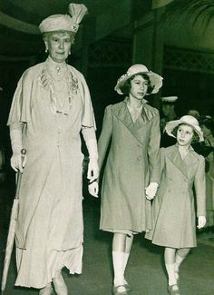 Elizabeth and Margaret with their grandmother, Queen Mary.