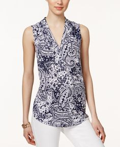 f29f00bdacd98 Charter Club Sleeveless Paisley-Print Top
