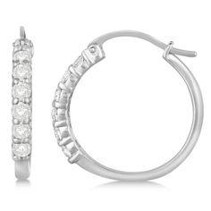 Genuine Diamond Hoop Earrings Pave Set in White Gold 14k Earrings, Diamond Hoop Earrings, Silver Earrings, Beautiful Earrings, Fine Jewelry, White Gold, Pendant, Polyvore, Tops