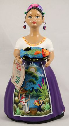 Lupita Doll w Plate of Fish Purple Dress Ceramic Mexican Folk Art Rose Colored Dress, Purple Dress, Mexican Textiles, Mexican Ceramics, Mexico Culture, Sculptures Céramiques, New Dolls, Mexican Folk Art, Art For Kids