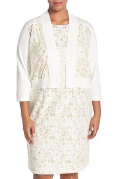 Chetta B Metallic Lace Crop Cardigan (Plus Size)
