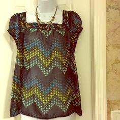 Ann Taylor chiffon polka blouse11 Chiffon polka dot blouse,square neck Ann Taylor Tops Blouses