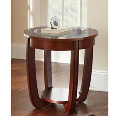 Lancaster Cherry Round End Table - Overstock™ Shopping - Great Deals on Coffee, Sofa & End Tables Small Furniture, Furniture Deals, Living Room Furniture, Console Furniture, Console Table, Furniture Design, Geometric Side Table, Elephant Table, Winsome Wood