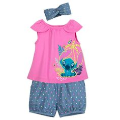 Stitch Top and Shorts Set for Baby - Official shopDisney® Disney Baby Clothes, Baby Disney, Cool Kids Clothes, Dog Pajamas, Princess Outfits, Girl Outfits, Summer Baby, Dress Collection, Cap Sleeves