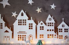 Illuminated Christmas Village Cutout