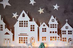 Illuminated Christmas Village Cutout