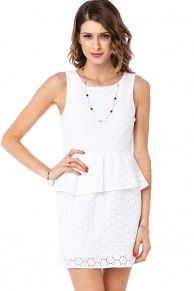 Clemence Eyelet Peplum Dress in White