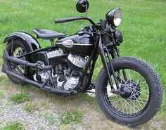 Photo of 1946 Harley UL Flathead Period Modified Bobber Motorcycle by Steve Barber of the 74 Shop.