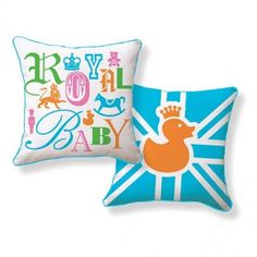 Treat your child like royalty with these cute and colorful #royalbaby pillows. #homedecor (Photo by: Etsy)