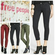 Free People Vintage Jacquard Print Skinnies Free People Vintage Jacquard Print Skinnies in washed black. These lightweight, intricately textured, low rise, slim fit, 5 pocket design, button zip front closure, skinny leg at a cropped length are the perfect go-to pair of jeans for any wardrobe! Can be worn rolled up with booties or dressed up with heels! 98%cotton, 2%Spandex, 27 in. inseam.   No trade, discount with bundle! Considering all reasonable offers made via the blue offer button only…