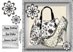 Beautiful Black &amp White Handbag With Silver Shoe 8x8 by Amy Perry Beautiful Black & White Handbag With Silver Shoe 8x8 in gorgeous silver frame with corner flower also has decoupage and choice of tag