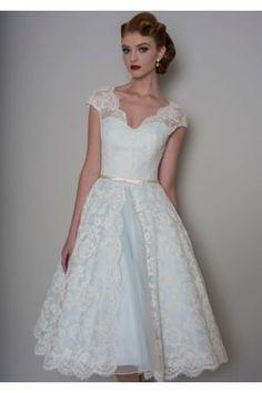 BELLA Tea Length Lace Blue Wedding Dress