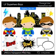 Decorations - Lil Superhero Boys Digital Clip Art
