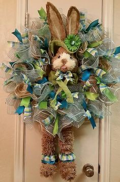 Dapper Rabbit Easter Wreath by SouthTXCreations on Etsy
