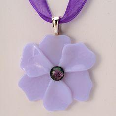 Neo Lavender Poppy Pendant soft fused glass pendant by Artdefleur, $17.00