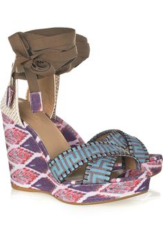 Theodora and Callum Biarritz printed linen wedge sandals - 68% Off Now at THE OUTNET