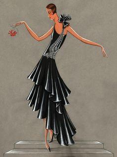 'Bel oiseau' evening gown, 1928, Jeanne Lanvin / Illustration Maison Lanvin