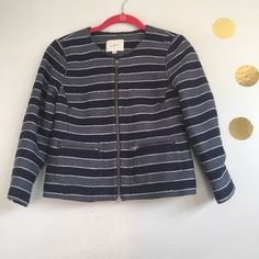 I just discovered this while shopping on Poshmark: LOFT Navy Blue Striped Boucle Jacket. Check it out! Price: $50 Size: 0P