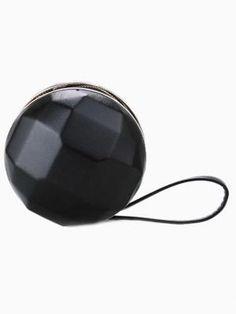 Black Ball Box Clutch Bag with Wrist Strap