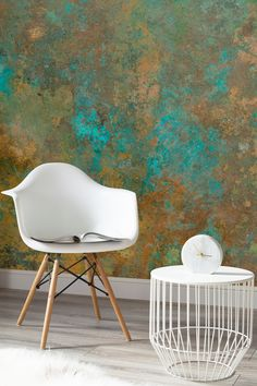 See the beauty of imperfections with this verdigris wallpaper design. Beautifully warming copper tones contrast against a deep turquoise, giving your home a truly unique feel.