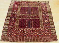 ANTIQUE NOMADS TEKKE TURKMEN CARPET BUKHARA  ENGSI hatchli Door Rug 19th  C. N1