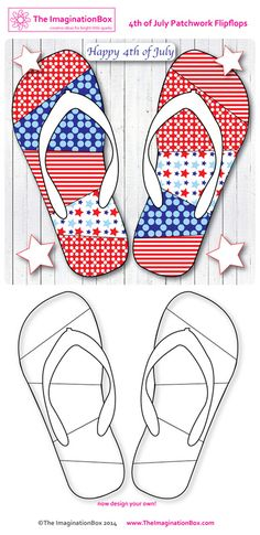 Have fun designing patchwork flipflops for the 4th of July, free printable fun for all ages.