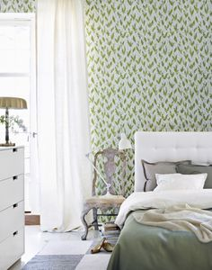 Soft green and white; cool and refreshing.