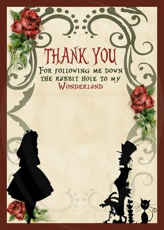 Alice in Wonderland Vintage Look Silhouette Party Invitations - Thank You Card - Personalized - Digital - Printable www.archondesignstudio.com #EtsyFinds
