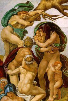 Michelangelo Buoanarroti - The Flood, painted on the ceiling of the Sistine Chapel (detail) Michelangelo Paintings, Miguel Angel, Caravaggio, Italian Sculptors, High Renaissance, Sistine Chapel, Italian Painters, Italian Art, Fresco