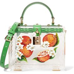 Dolce & Gabbana Dolce lizard-effect leather-trimmed painted Plexiglas®... ($3,065) ❤ liked on Polyvore featuring bags, handbags, tote bags, clear purse, white handbags, lucite purse, tote handbags and top handle handbags