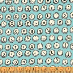 TYPEWRITER KEYS Aqua Turquoise -Type collection by Julia Rothman - Cotton Quilt Fabric - by the Yard