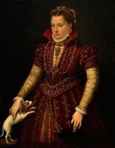 Lavinia Fontana(1552-1614) Portrait of a Noblewoman (ca. 1580)  pintora italiana del primer barroco, muy cercana al manierismo tardío, gradualmente adoptó el estilo clasicista de los Carracci (opuestos al Manierismo y al naturalismo de Caravaggio) con un colorido fuerte casi veneciano.